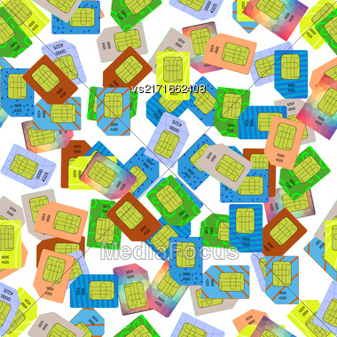 SIM Cards Seamless Pattern On White Background Stock Photo