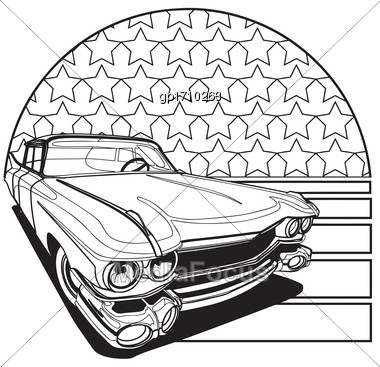 Simple Black And White Vector Badge Executed In Retro Print Style On The Background Of American Symbolism. File Doesn't Contains Gradients, Blends, Transparency And Strokes Or Other Special Visual Eff Stock Photo