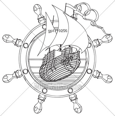 Simple Black And White Vector Badge With Sail Ship And Steering Wheel, Executed In Retro Print Style. File Doesn't Contains Gradients, Blends, Transparency And Strokes Or Other Special Visual Effects. Stock Photo