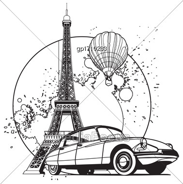 Simple Black And White Vector Badge On Theme Of Paris, Executed In Retro Print Style. File Doesn't Contains Gradients, Blends, Transparency And Strokes Or Other Special Visual Effects. You Can Open Th Stock Photo