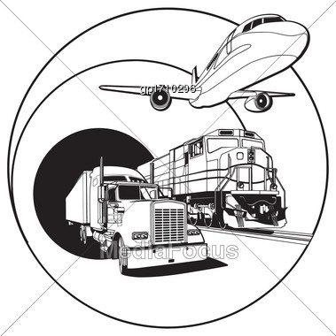 Simple Black And White Vector Badge On Transportations Theme, Executed In Retro Print Style. File Doesn't Contains Gradients, Blends, Transparency And Strokes Or Other Special Visual Effects. You Can  Stock Photo