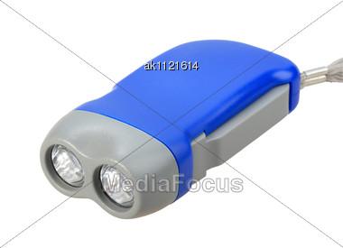 Single Blue-gray Hand Flashlight Close-up Studio Photography Stock Photo