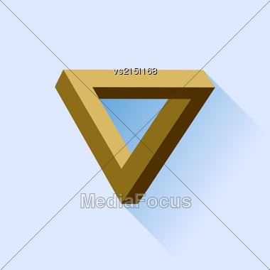 Single Brown Triangle Isolated On Blue Background Stock Photo