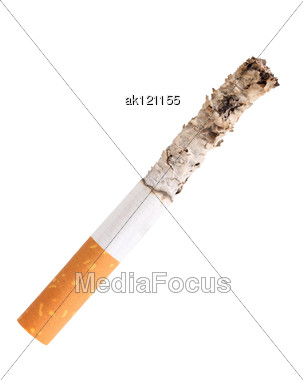 Single Cigarette Butt With Ash Close-up Studio Photography Stock Photo