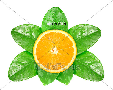 Single Cross Section Of Fresh Orange Fruit On Green Leaf With Dew Close-up Studio Photography Stock Photo