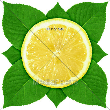 Single Cross Section Of Lemon With Green Leaf Close-up Studio Photography Stock Photo