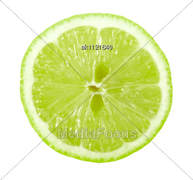 Single Cross Section Of Lime Close-up Studio Photography Stock Photo