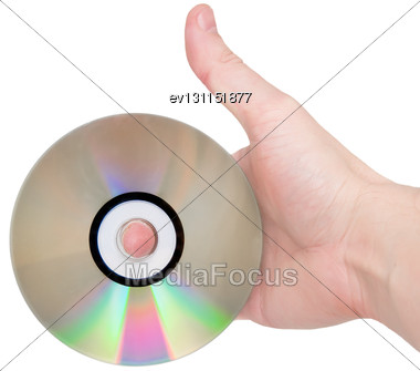Single DVD(CD) Disc Hold In Hand. Isolated Over White Stock Photo