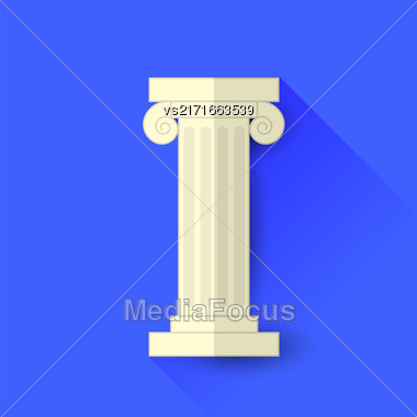 Single Greek Column Isolated On Blue Background. Long Shadow Stock Photo