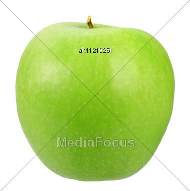 Single A Green Apple Close-up Studio Photography Stock Photo