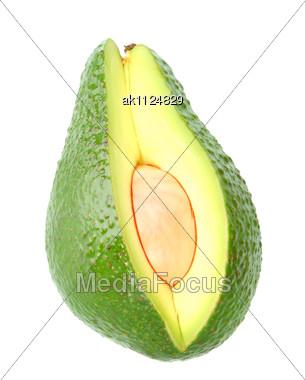 Single Green Ripe Avocado Close-up Studio Photography Stock Photo