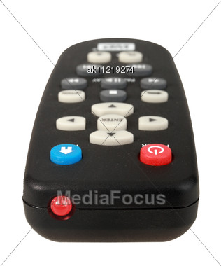 Single Infrared Remote Control For Media Center Close-up Studio Photography Stock Photo