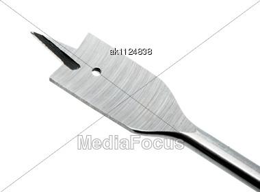 Single Metallic Auger Nib For Wood. Close-up. Studio Photography Stock Photo