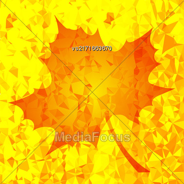 Single Orange Mosaic Autumn Leaf On Yellow Polygonal Background Stock Photo