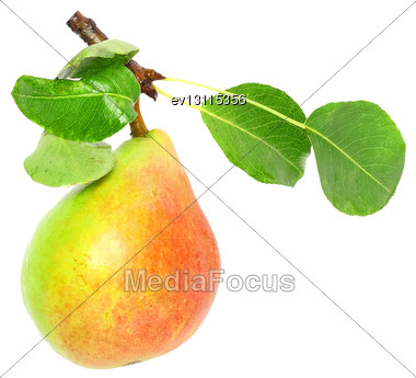 Single Pear With Stem And Green Leaf. Isolated Over White Stock Photo
