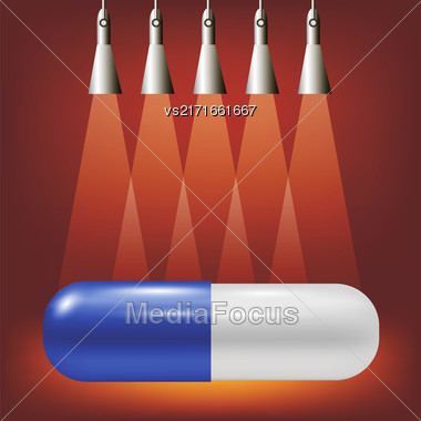 Single Pill On Soft Light Red Background Stock Photo