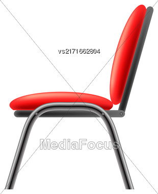 Single Red Office Chair Isolated On Whitwe Background. Side View Stock Photo