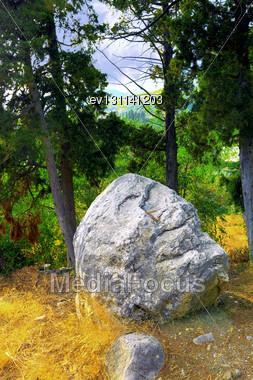 Single Rock In Mountain Of Ukraine, Crimea Stock Photo