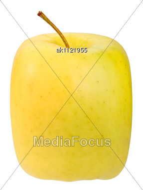 Single Square Yellow Apple Close-up Studio Photography Stock Photo