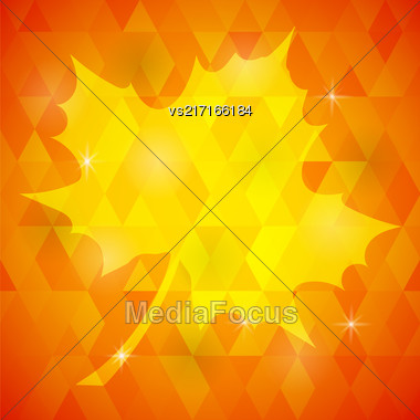 Single Yellow Mosaic Autumn Leaf On Orange Polygonal Background Stock Photo