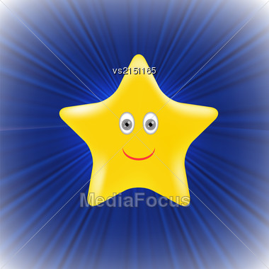 Single Yellow Star On Blue Wave Background Stock Photo