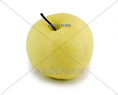 Sinngle Apple . Isolated Over White Stock Photo