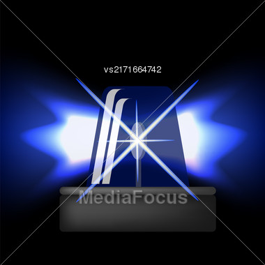 Siren Icon Isolated On Black Background. Blue Emergency Flash. Car Alarm Symbol Stock Photo