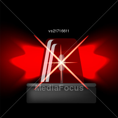 Siren Icon Isolated On Black Background. Red Emergency Flash. Car Alarm Symbol Stock Photo