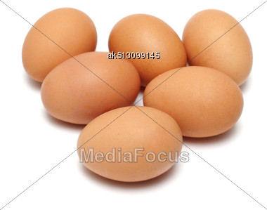 Six Eggs Isolated On White Stock Photo