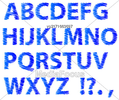 Sketch Alphabet Isolated On White Background. Set Of Blue Sketch Letters. Decorative Scribble Symbols Stock Photo