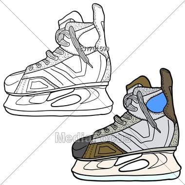 Sketch Of Hockey Skates. Skates To Play Hockey On Ice, Vector Illustration Stock Photo