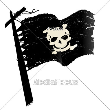 Sketch With Pirate Flag Stock Photo