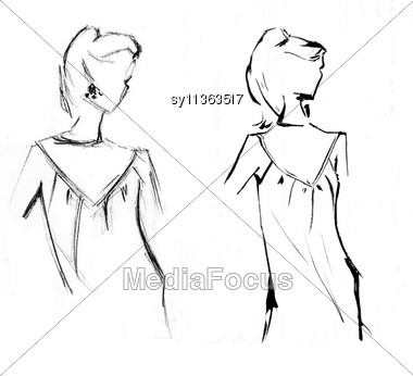 Sketch Two Girls Stock Photo