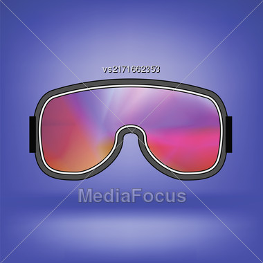 Ski Goggle With Colorful Glasses Isolated On Blue Soft Background Stock Photo
