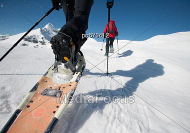 Ski Mountaineers On Snow Shoes Stock Photo