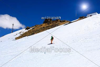Skier Descending Mount Elbrus - The Highest Peak In Europe Stock Photo