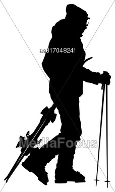 Skier Standing On The Snow And Keeps Skis. Vector Sport Silhouette Stock Photo