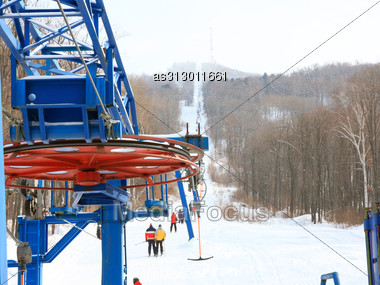 Skiers Go On The Lift On Mountain In Primorski Territory Russia Stock Photo