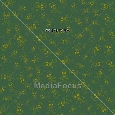 Skull Cross Bones Seamless Pattern Isolated On Green Background Stock Photo