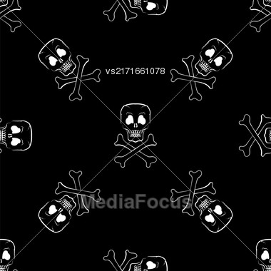 Skull Cross Bones Seamless Pattern. Skull Isolated On Dark Stock Photo