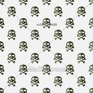 Skull Cross Bones Seamless Pattern. Skull Isolated On White Stock Photo
