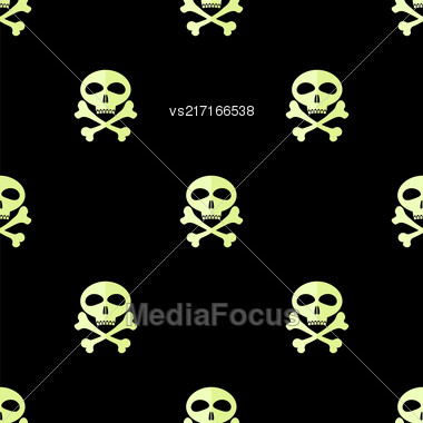 Skull Cross Bones Seamless Pattern. Skull Isolated On Black Stock Photo