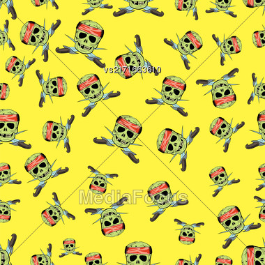 Skull Cross Sharp Dagger Seamless Pattern Isolated On Yellow Stock Photo