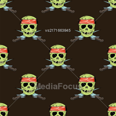 Skull Cross Sharp Dagger Seamless Pattern Isolated On Brown Stock Photo