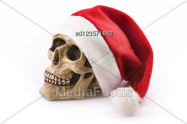 Skull With Red Christmas Hat Stock Photo