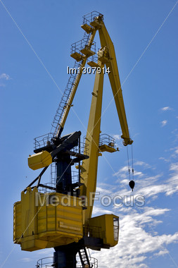 Sky Clouds And Yellow Crane In Buenos Aires Argentina Stock Photo