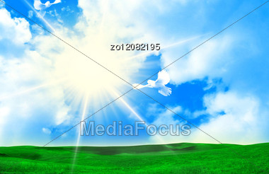 Sky In Clouds And A Green Grass. Stock Photo