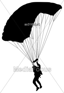 Skydiver Silhouettes Parachuting A Vector Illustration Stock Photo