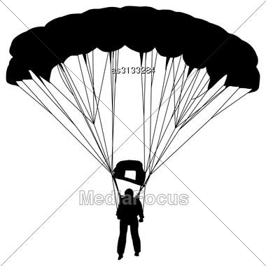 Skydiver, Silhouettes Parachuting Vector Illustration Stock Photo