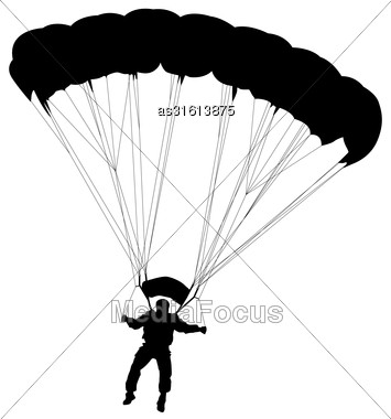 Skydiver, Silhouettes Parachuting Vector Illustration Stock Photo